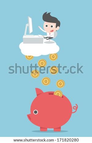 businessman earnings money, vector - stock vector