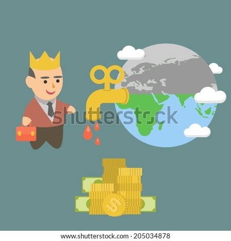 businessman earth energy oil petroleum planet crisis money - stock vector