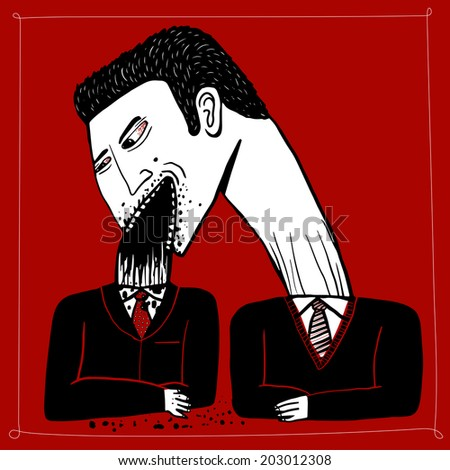 Businessman eat the head of another man - stock vector