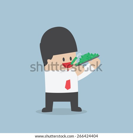 Businessman eating dollars, Corruption and greed concept, VECTOR, EPS10 - stock vector