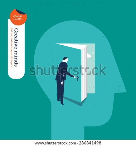 Businessman entering someone's mind through a book. Vector illustration Eps10 file. Global colors. Text and Texture in separate layers. - stock vector
