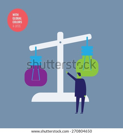 Businessman evaluating ideas with a bulb scale. Vector illustration Eps10 file. Global colors&layers. - stock vector