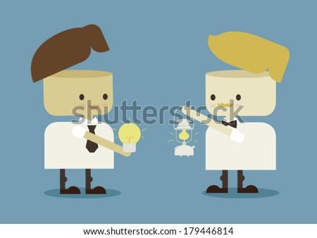 businessman exchange idea  - stock vector