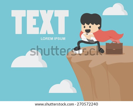Businessman expressed confidence on precipice - stock vector