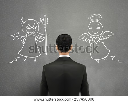 businessman facing of devil and angel over grey wall  - stock vector