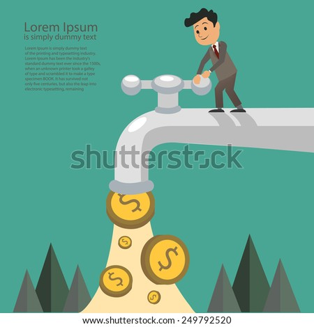 businessman fall out of the golden tap, Passive Income Concept - stock vector