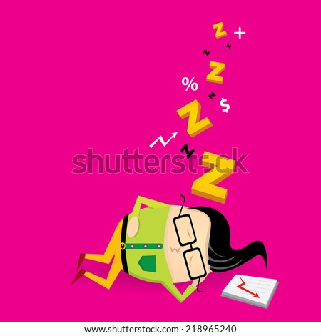 Businessman falling asleep at his work, business concept in sleeping, dozing, relaxing, take a break or lazy at working. Sleeping man in office. vector illustration - stock vector