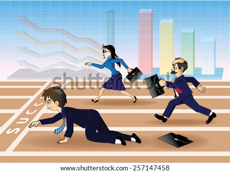 Businessman falling down before the success line - stock vector