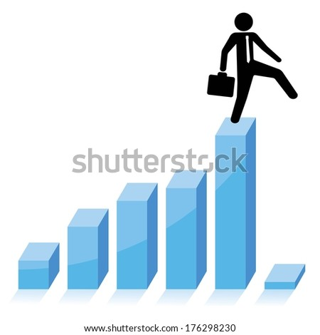 businessman falling down from graphic chart - stock vector