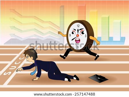 Businessman falling down while racing against time - stock vector