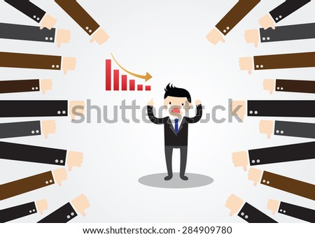 Businessman feedback. Businessman is not successful, no one accepted. - stock vector