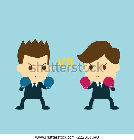 businessman fighting - stock vector