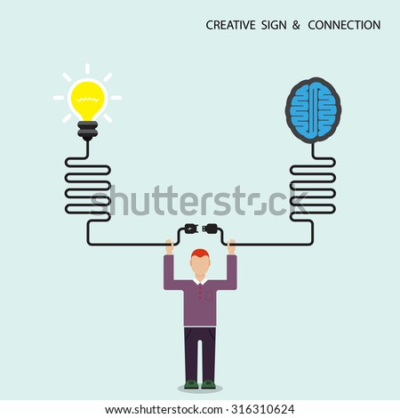 Businessman, finance and creative light bulb brain symbol, knowledge connection concept. Business and education connection concept. Vector illustration - stock vector