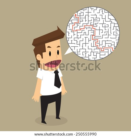 Businessman finding the solution of a maze.vector - stock vector