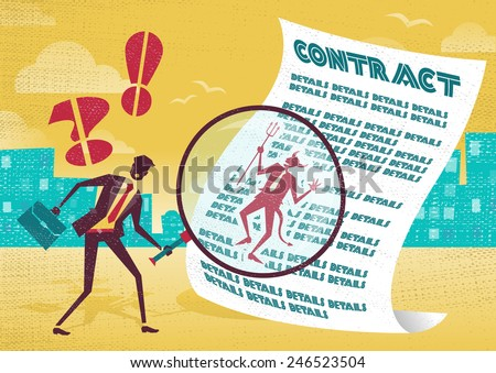 Businessman finds the Devil is in the detail. Businessman is very careful to check the fine print of his business contract with his huge magnifying glass as he finds that the devil is in the detail. - stock vector