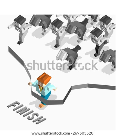 Businessman finishing red thin line. Creative people collection.business competition 3d polygonal character. isometric vector object - stock vector
