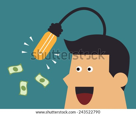 Businessman fishing for money by light bulb idea, business idea - stock vector
