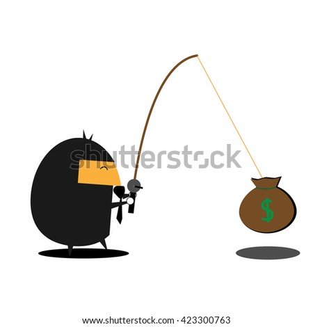 Businessman fishing money. Business vector illustration cartoon character abstract concept.