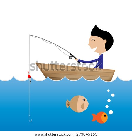 businessman fishing without bait business concept Vector
