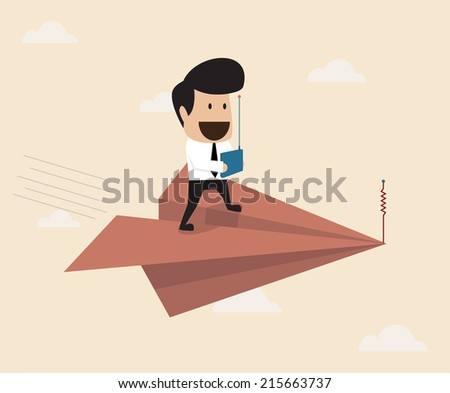 Businessman fly with remote control paper plane