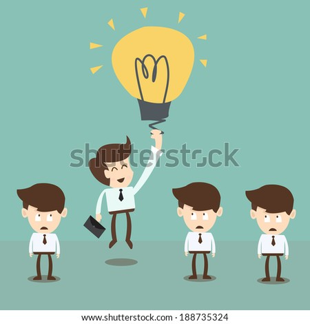 Businessman flying by idea bulb balloon,innovation and advantage in business - stock vector