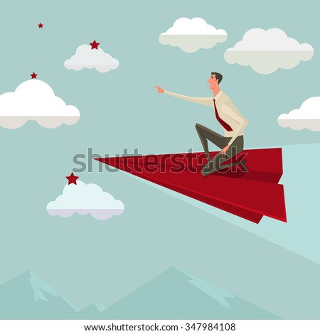 Businessman flying on a red paper airplane betake leadership. Business growth and start up concept. Vector illustration. - stock vector