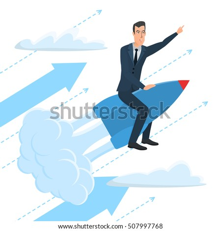 Businessman flying on a rocket on sky, startup. Business cartoon concept. Vector illustration isolated on white background in flat style.