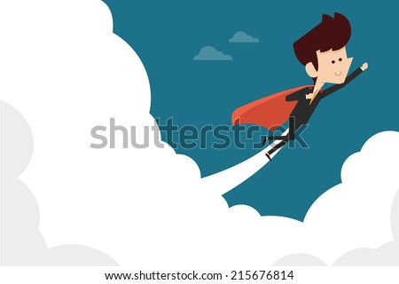 businessman flying on sky flat design - stock vector