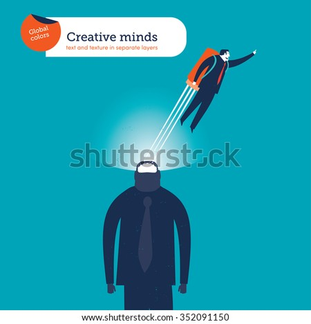 Businessman flying with a rocket with his mind power. Vector illustration Eps10 file. Global colors. Text and Texture in separate layers. - stock vector