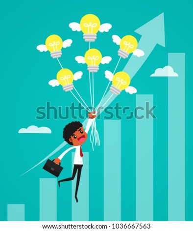 Businessman flying with idea balloon over growth chart. business concept vector illustration