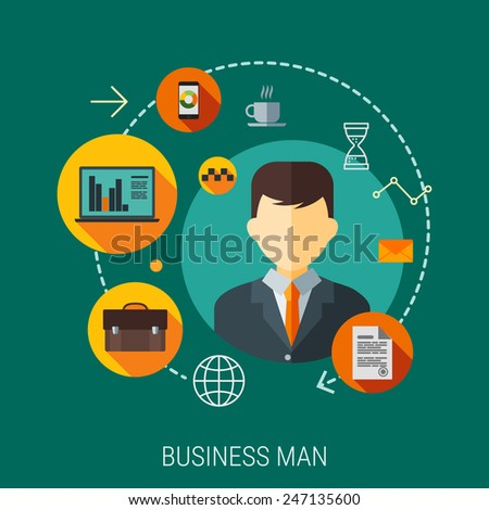businessman for business process organization,lifestyle routine and internet browsing. Flat design vector illustration  - stock vector