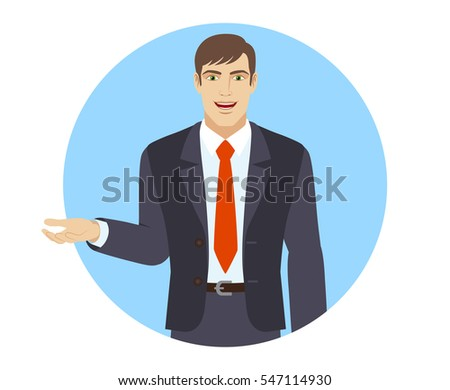 Businessman gesturing. Businessman shows something beside of him. Portrait of businessman in a flat style. Vector illustration.