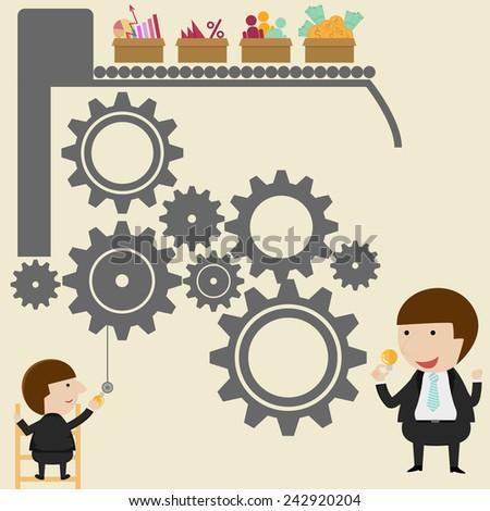 Businessman get an idea and vector illustration - stock vector