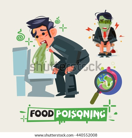businessman get diarrhea in toilet. man in pain vomiting. food poisioning concept. Man having a stomachache. food poisoning. stomach problems - vector illustration - stock vector