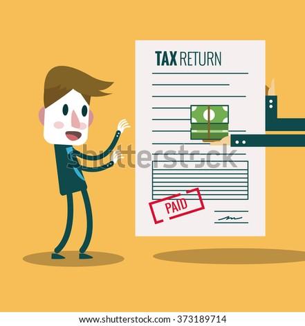 Businessman get paid bill and money return.Tax return concept.  flat design elements. vector illustration - stock vector