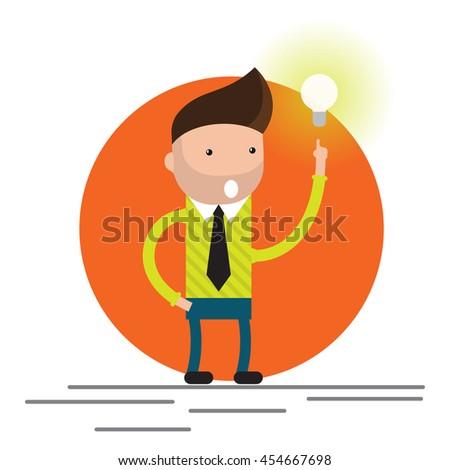 Businessman get the big good idea bulb vector - stock vector