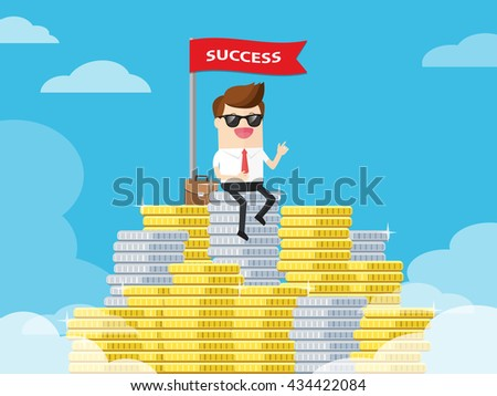 businessman getting earning money and prosperity proudly stay on top of coins like hill. blue sky at background - stock vector