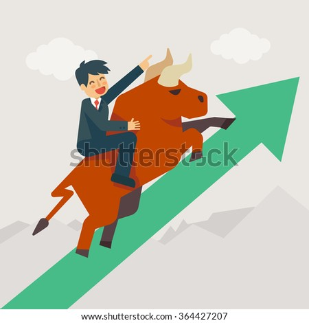 Businessman getting on a large bull (market) running up