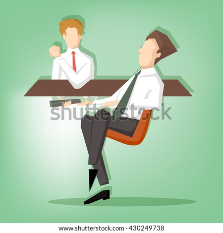 Businessman giving a bribe under table. Business  corruption Concept.  (Illustration vector design)