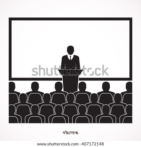 Businessman giving a presentation standing next to a blank white board. Study vector icon isolated on white background. training design over gray background vector illustration - stock vector