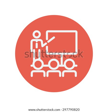 Businessman giving a presentation thin line icon for web and mobile minimalistic flat design. Vector white icon inside the red circle. - stock vector