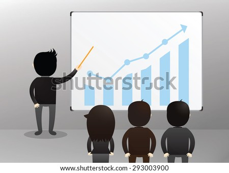 Businessman giving a presentation to other business people.