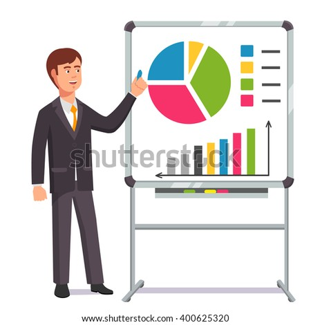 Businessman giving a speech showing sales statistics graph on a whiteboard. Flat style color modern vector illustration. - stock vector