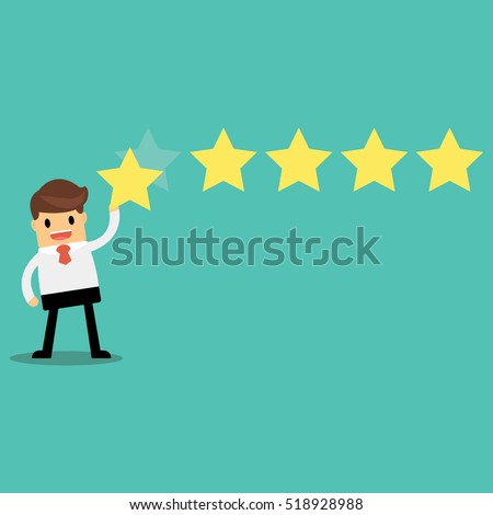 Businessman giving five star rating, Feedback concept, VECTOR, EPS10.
