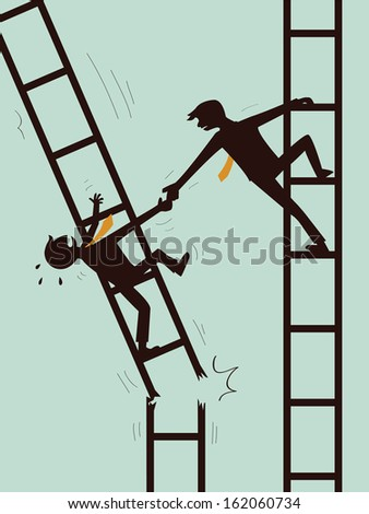 Businessman giving hand to help another businessman who is on broken ladder. Business concept on help, support, survive, together, teamwork, and partnership.  - stock vector