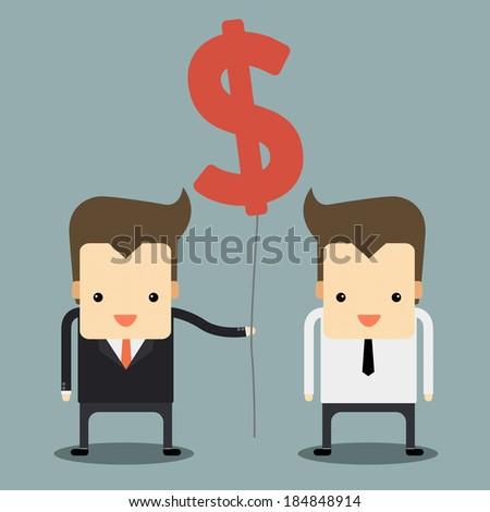 businessman giving money balloon vector - stock vector