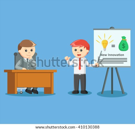 businessman giving presentation about his brand new idea and new inovation - stock vector