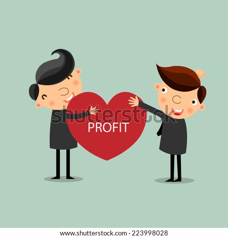Businessman giving profit heart to his partner. business partnership concept. vector  - stock vector