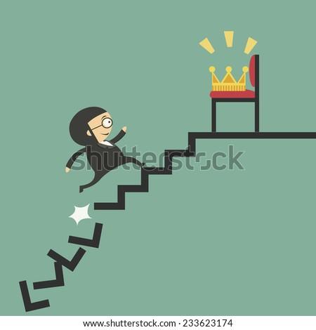 Businessman go the way toward the crown - stock vector
