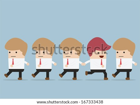 Businessman  go to different way of his team, Individuality concept, VECTOR, EPS10 - stock vector